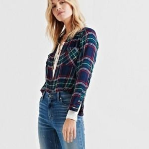 LUCKY BRAND Classic Plaid Button Up Shirt NWT